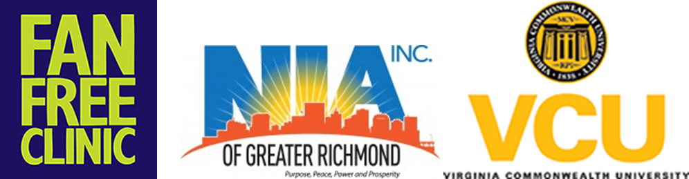 3 logos: Fan Free Clinic, Nia of Greater Richmond, VCU: Virginia Commonwealth University