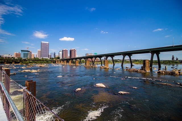 A view of the James River and Richmond, Virginia cityscape